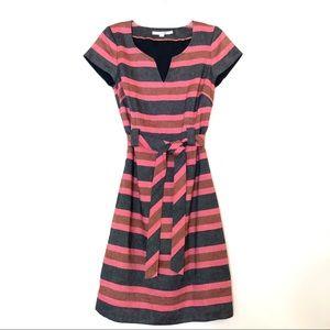 Boden Linen Striped Notch V Neck Shift Dress WH458